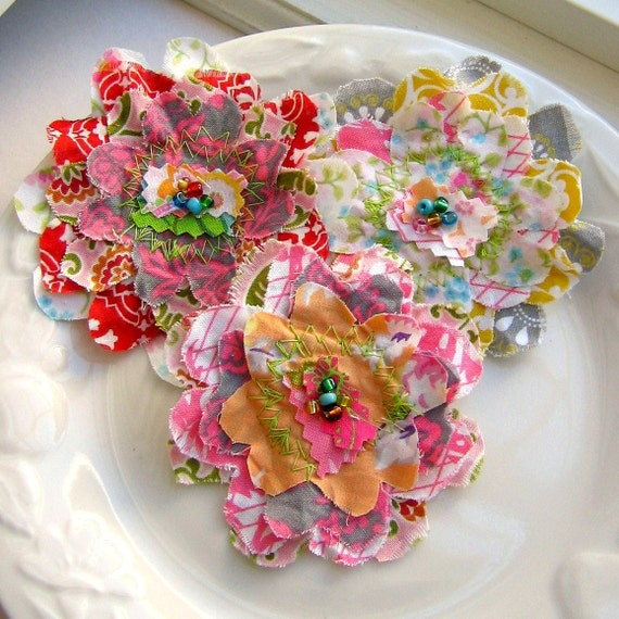 Fabric Flowers, Flower Embellishments, Fabric Scrap Flowers, Layered Flowers, Scrapbook Flowers,  Set of 3 - No. 709