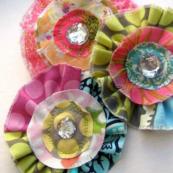 Flower Appliques, Fabric Flowers, Scrapbook Flowers, Flower Embellishments, Ruffle Flowers, Gem Flowers - set of 3, No. 711