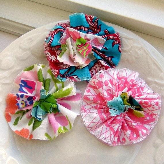 Flower Appliques, Fabric Flowers, Scrapbook Flowers, Flower Embellishments, Ruffle Flowers, Shabby Flowers - set of 3, No. 716
