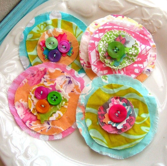 Flower Appliques, Fabric Flowers, Scrapbook Flowers, Flower Embellishments,  Button Flowers, Shabby Flowers - set of 4, No. 730