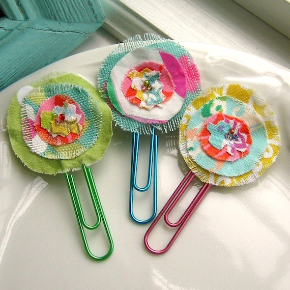 Flower Paperclips, Flower Clips, Flower Bookmark, Clip, Fabric Flower Paperclips, Paperclips, Bookmark  - Set of 3, No. 27