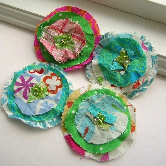 Les Scraps La Fleur Fabric Posy Magnet Set, Spring Color Mix, No 003