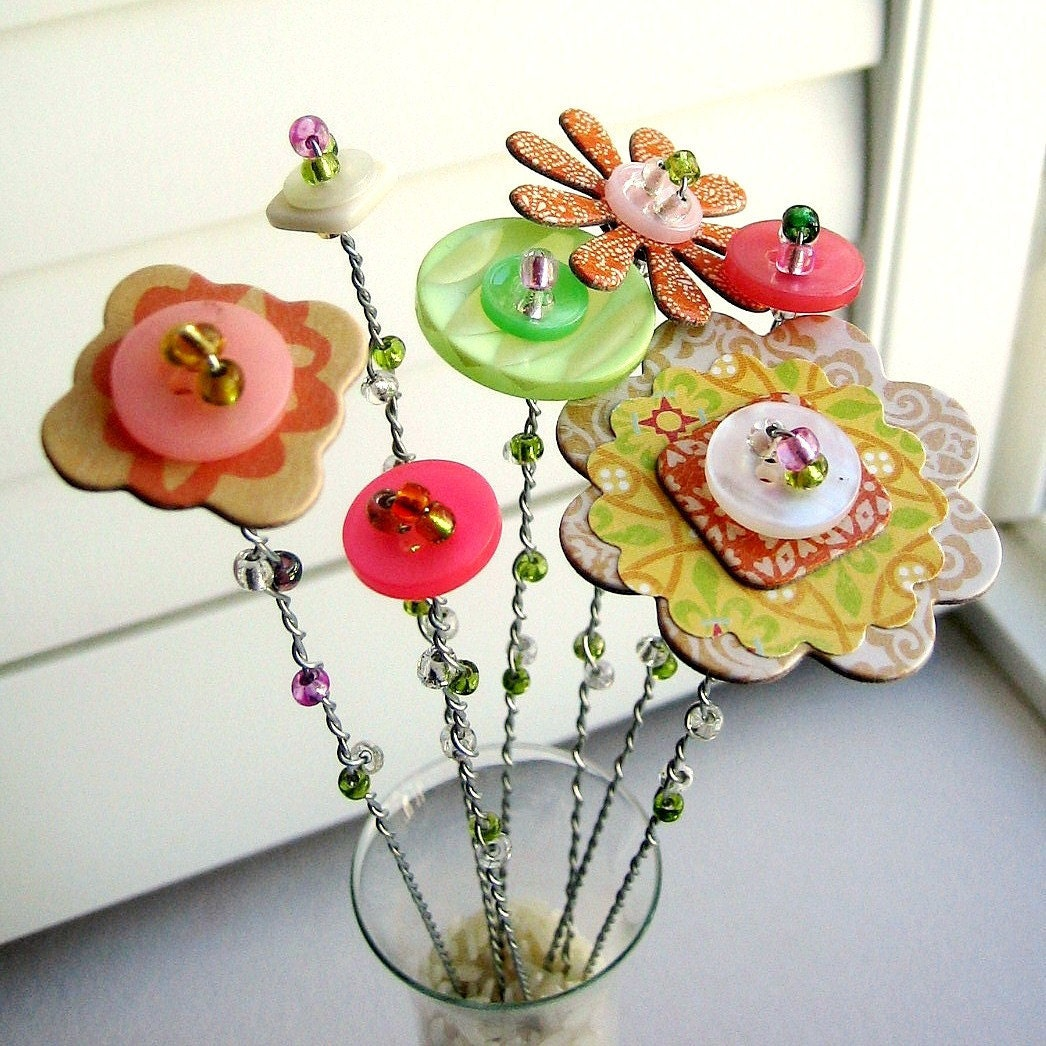 Button Flower Bouquet Button Flower Stems Button Flower