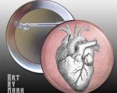 Vintage Anatomy Grunge Heart Pinback Button