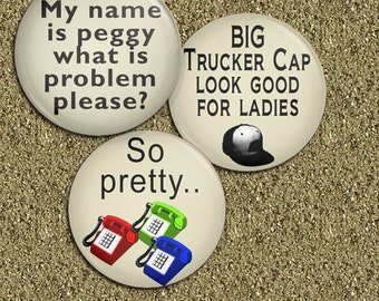 Peggy USA Prime Credit Funny 1.25 inch - Pinback Buttons Set of 3