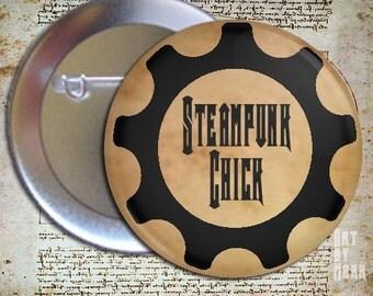 Steampunk Chick  Pinback Button