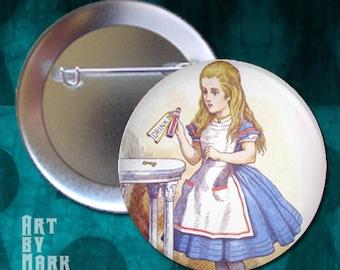 Alice in Wonderland  Drink pinback button