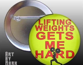 Lifting Weights Bodybuilding Pinback Button