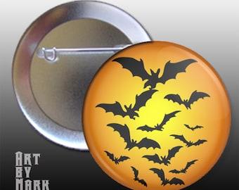 Halloween theme bats flying pin back button badge