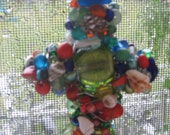 4 Inch Beaded Cross Ornament