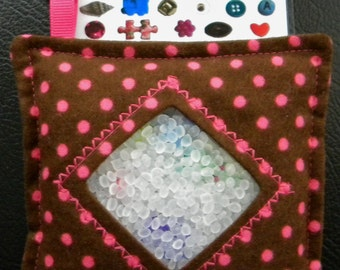 I Spy Bag - Mini with Sewn Word List and Detachable Picture List- Delightful Dots ( Pink and Brown)