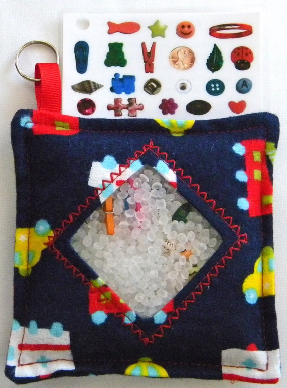 I Spy Bag - Mini with Sewn Word List and Detachable Picture/Word List- Rescue Cars