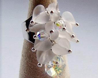 White Hearts Swarovski Crystal Ring