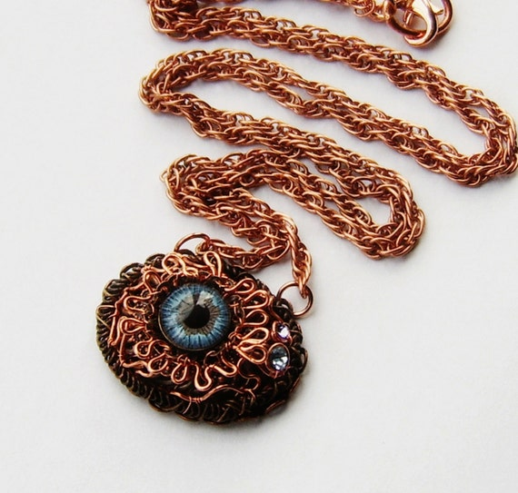 Copper Wrapped Blue Eye Pendant