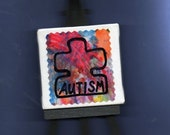 MR. BIG RED FISH MINI CANVAS ON EASEL-DESK ART- by Ronan James - 6 year-old artist - AUTISM SUPPORT