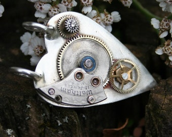 Steampunk Necklace Sterling Silver Clockwork Heart Pendant, Gears