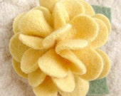 Yellow Peony Brooch - Recycled Sweater Wool Flower