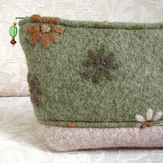 Green Flowered Clutch, Upcycled Felted Wool