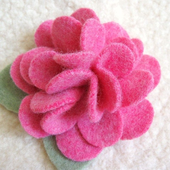 Pink Peony Brooch - Recycled Sweater Wool Flower Pin