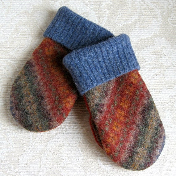 Mediterranean Blue and Paprika Mittens for Kids, Upcycled Felted Wool