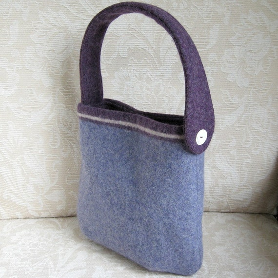Lavender and Purple EMMA Handbag, Eco Friendly Upcycled Sweater Wool Purse