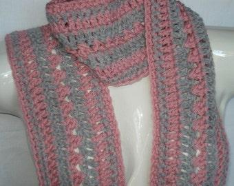 Pink & Grey Crocheted Scarf