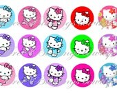 Kitty images bottle cap 1 inch scrabble  keychain resin necklace ball chain ribbon