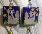 Scrabble Tile Wolf Earrings with Sterling Silver, Peridot, Glass Crystal