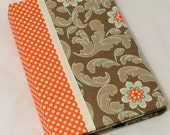Kindle Fire Case Stand, Nook Tablet Case Stand- Hardcover Book Style, Riley Blake Verona,  Magnet Close Personalize