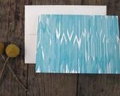 Letterpress Teal Turquoise Ikat Cards set of 6