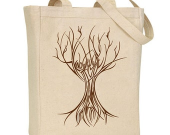 Knowledge is a Tree silkscreen tote bag