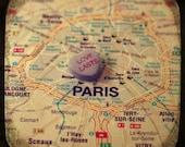 love lasts paris custom candy heart map art 5x5 ttv photo print - free shipping
