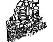 Maine - typography map ar...