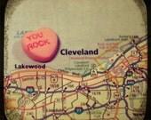 Map art print - you rock cleveland - candy heart photo print custom going away graduation gift dorm wall decor