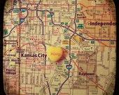 xoxo kansas city custom candy heart map art 5x5 ttv photo print - free shipping