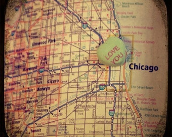 love you chicago custom candy heart map art ttv photo print