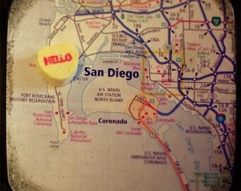 hello san diego candy heart map art 8x8 ttv photo print - free shipping