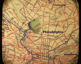 love you philly custom candy heart map art 5x5 ttv photo print - free shipping