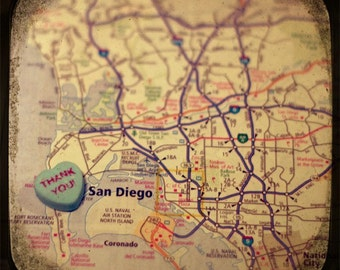 thank you san diego custom candy heart map art 5x5 ttv photo print - free shipping