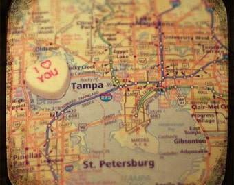 i love you tampa candy heart map art 8x8 photo print - free shipping