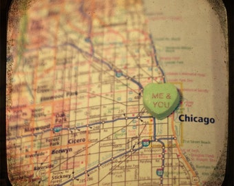 me & you chicago candy heart map art ttv photo print