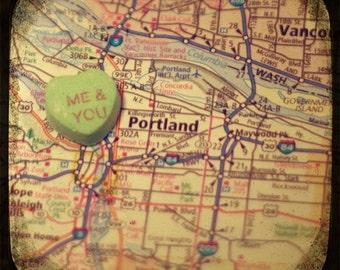 me & you portland candy heart map art 5x5 ttv photo print - free shipping