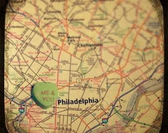 me & you philadelphia custom candy heart map art 8x8 ttv photo print - free shipping