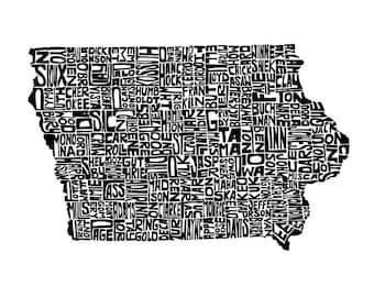 Iowa typography map art print 8x10 customizable personalized state poster custom wall decor engagement wedding housewarming gift