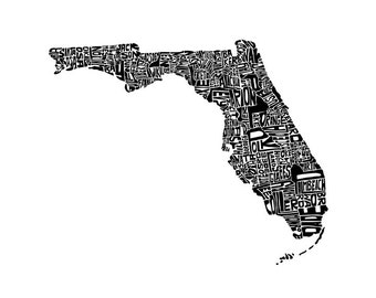 Florida typography map art print 5x7 customizable state poster wedding engagement graduation gift anniversary personalized wall art decor