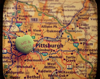 me & you pittsburgh candy heart map art ttv photo print - free shipping
