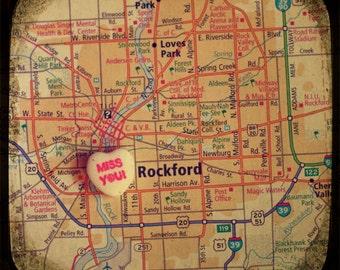 miss you rockford custom candy heart map art 8x8 ttv photo print - free shipping