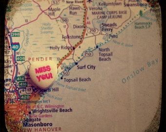 miss you topsail nc custom candy heart map art 5x5 ttv photo print - free shipping