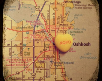 xoxo oshkosh custom candy heart map art 5x5 ttv photo print - free shipping