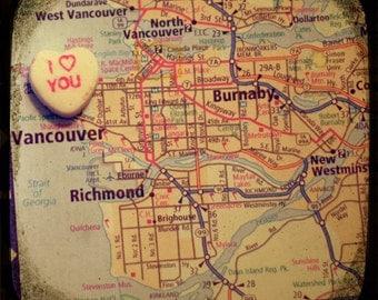 i love you vancouver custom candy heart map art ttv photo print